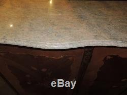 French Marble Top Server/Credenza large inlaid tulip wood buffet server