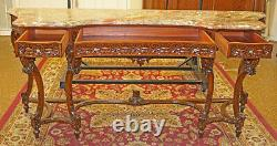 Gorgeous Carved Walnut French Marble Top Server Buffet Sideboard Circa 1920's