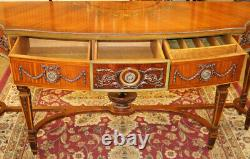 Gorgeous Paint Decorated Burled & Satinwood Adams Style Buffet Server Sideboard