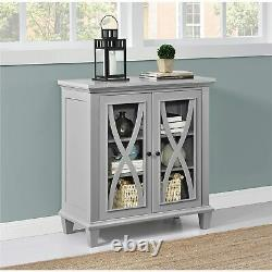 Gray Grey Wooden Storage Cabinet Buffet Sideboard China Server Curio Display