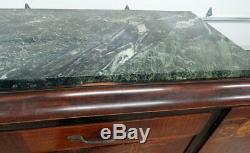 Great French Art Deco Leleu Style Inlaid Marble Top Sideboard Server Buffet