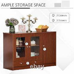 HOMCOM Kitchen Buffet Table Cabinet Storage Sideboard Server Console, Brown