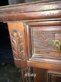 Heavily Carved Antique 1870 Walnut Victorian Server Buffet Amazing