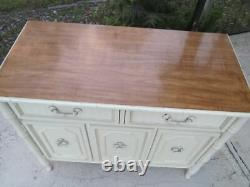 Hollywood Regency Faux Bamboo Buffet Server Credenza Two Drawer Three Door