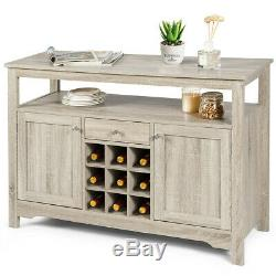 Home Wood Buffet Server Sideboard Wine Cabinet Dining Room Kitchen Storage Grey