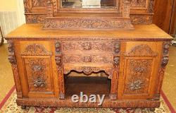 Incredible 19th Century Tiger Oak Figural Bar Server Sideboard Buffet