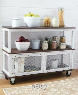 Industrial Style Rolling Buffet Cart Kitchen Island Storage Hutch Table Server