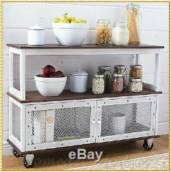 Industrial Style Rolling Kitchen Buffet Cart Island Storage Hutch Table Server