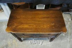 Jacobean Gothic Revival Oak Barley Twisted Buffet Server Sideboard Console Table