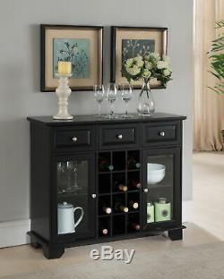 Kings Brand Buffet Server Sideboard Cabinet with Wine Storage, Black
