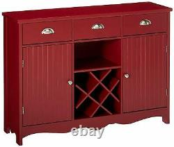 Kings Brand Furniture Buffet Server Console Table with Wine Storage, Red
