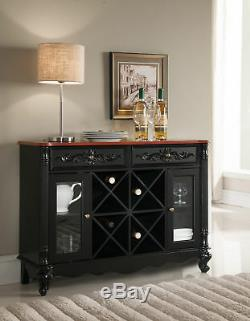 Kings Brand Furniture Buffet Server Wine Cabinet Console Table, Black / Walnut