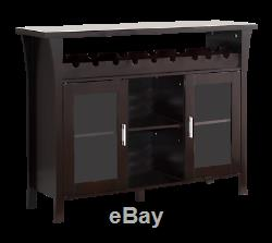 Kings Brand Wine Rack Buffet Server Console Table With Glass Doors, Espresso