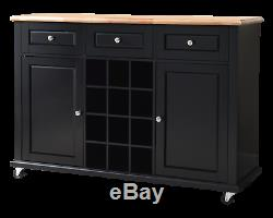 Kings Brand Wine Rack Sideboard Buffet Server Console Table With Storage, Black