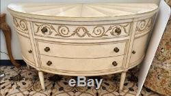 Lillian August Handpainted Off White Demilune Sideboard Buffet Server Commode