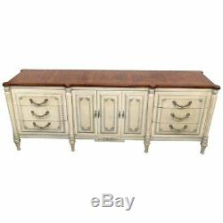 Long French Louis XVI Style Distressed Painted Sideboard Buffet Server C1950