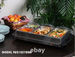 MegaChef 4 Section Buffet Server & Food Warmer in Stainless Steel