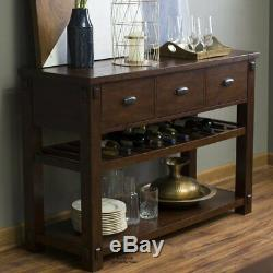 Modern Brown Buffet Sideboard Rustic Kitchen Dining Server Storage Console Table