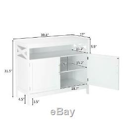 Modern Kitchen Storage Cabinet Buffet Server Table Sideboard Dining Wood White
