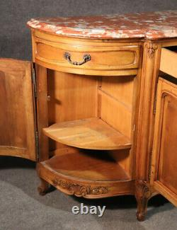 Monumental Walnut Carved French Louis XV Sideboard Server Buffet, circa 1950