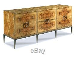 New Olive Ash Burled Wood Milo Baughman Style Modern Server Buffet Sideboard