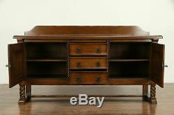 Oak Carved Antique Scandinavian Sideboard, Server, Buffet or TV Console #32344