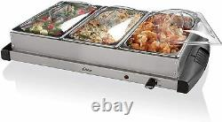 Oster Buffet Server Warming Tray Triple Tray 2.5 Quart Stainless Steel 20 x 13