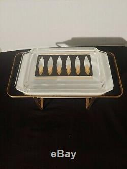RAREVintage Pyrex 575 Space Saver Fred Press Flame Pattern with Buffet Server