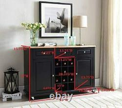 Rack Sideboard Buffet Server Console Table With Storage, Black