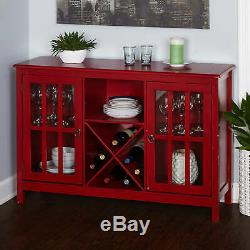 Red Buffet Console Storage Cabinet Server Wooden Glass Doors Curio Wine Dining