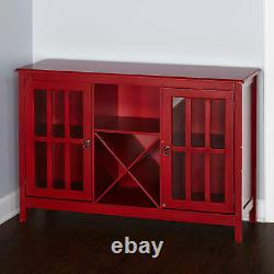 Red Wooden Buffet Console Storage Cabinet China Server Glass Doors Curio Wine