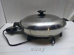 Rena Ware Stainless Electric Skillet Roaster Buffet Server 14 Pan Griddle & Lid