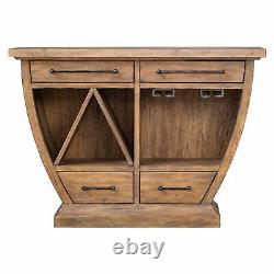 Retro Modern Bar Wine Wood Accent Cabinet Rustic Curved Buffet Server Shaped