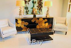 Reverse Painted Glass Mid Century Modern Server Sideboard Buffet TV Cabinet