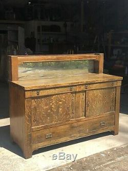STICKLEY ERA MISSION OAK ARTS AND CRAFTS BUFFET SERVER SIDEBOARD With MIRROR