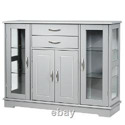 Sideboard Buffet Server Storage Cabinet With 2 Drawers 3 Cabinets Cupboard Grey