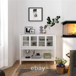 Sideboard Buffet Table Server Storage Cabinet With Sliding Glass Doors & Shelf New