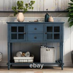 Sideboard Console Table with Bottom Shelf Wood/Glass Buffet Storage Server Cabinet