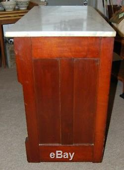 Solid Cherry Wood White Marble Top Server Cabinet Drawers Storage Dresser Buffet