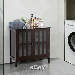 Storage Buffet Cabinet Glass Door Sideboard Display Table Server White Brown