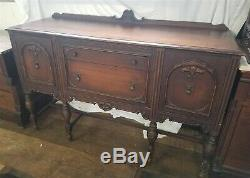 ThriftCHI Antique Beaded Edge Sideboard Buffet Server w Tear Drop Escutcheons