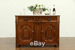 Victorian Antique Chestnut Sideboard, Server, Buffet, Marble Top, #31660