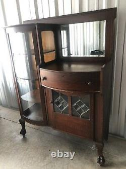 Victorian Curio Cabinet Buffet Server Side by Side Bookcase Mirror