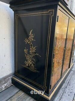 Vintage Drexel Heritage Chinoiserie Rolling Lacquer Asian Buffet Server Dry Bar