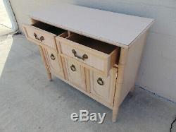 Vintage Faux Bamboo Console Buffet Server Chest Chinoiserie Coastal Palm Beach