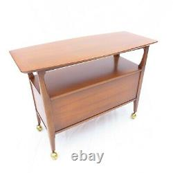 Vintage Mid-Century Modern 1950s Sideboard / Buffet / Server on Casters Pecan