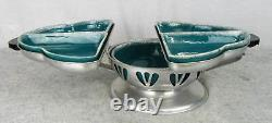 Vintage Retro Mid Century Pottery & Aluminum FOLD OUT Buffet Table Food Server