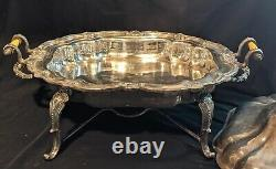 Vintage Silverplate Chafing Dish warming stand buffet Server With Burner and Lid
