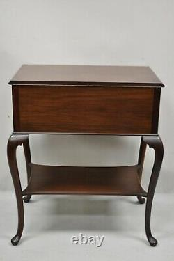 Vtg English Queen Anne Mahogany Lift Top Silverware Chest Server Buffet Cabinet