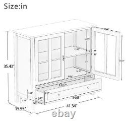 Wooden Buffet Server Console Storage Cabinet Curio Display Dining Glass Door
